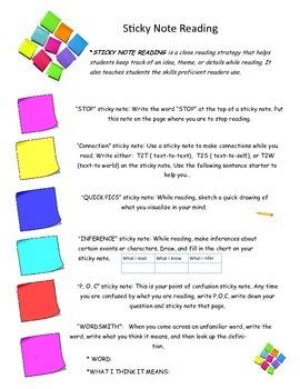 Sticky Note Reading Strategy
