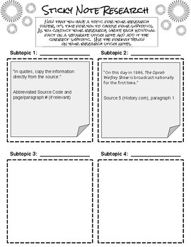 Sticky Note Research Graphic Organizer
