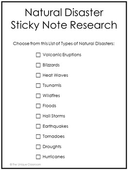 Sticky Note Research Planning Pages: Natural Disasters