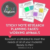 Sticky Note Research Planning Pages: Working Animals
