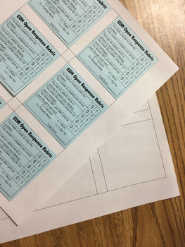 Sticky Note Rubric for Everyday Math Open Response Questions (with template)
