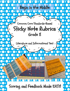 Sticky Note Rubrics Reading Literature and Informational Texts, Grade 8 (CCSS)