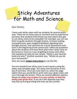 Sticky Note Stems for Math and Science:  Common Core