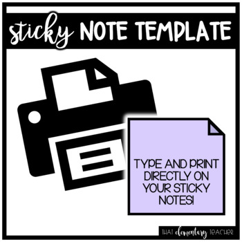 Sticky Note Template for PRINTING!