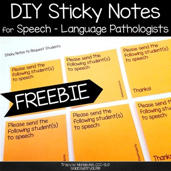 Sticky Note Template for SLPs