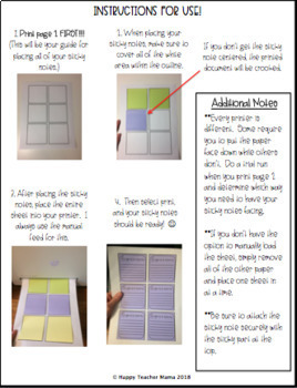 Sticky Note Templates (Teacher Edition)