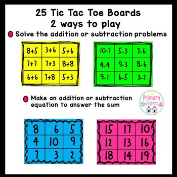 Sticky Note Tic Tac Toe Addition and Subtraction
