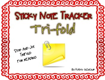 Sticky Note Tracker Trifold - Stop and Jot!