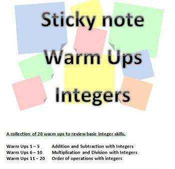 Sticky Note Warm Up -Integers