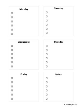 Sticky Note Weekly To Do List Template