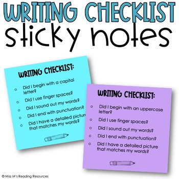 Writing Checklist Sticky Notes {for the Primary Grades}