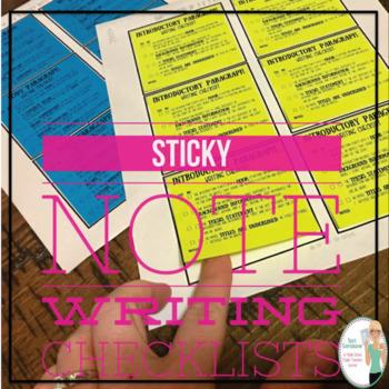 Sticky Note Writing Checklists (Essay Organization)