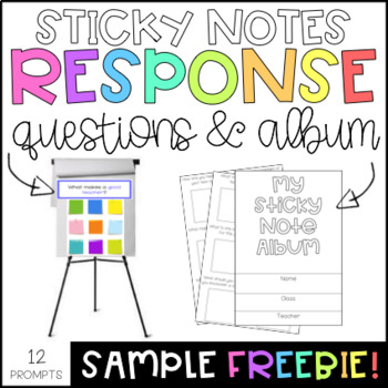 Sticky Note Response Questions SAMPLE FREEBIE