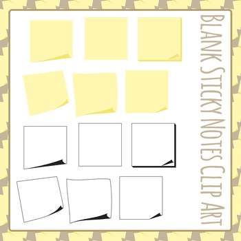 Sticky Notes (Blank) Clip Art Pack for Commercial Use