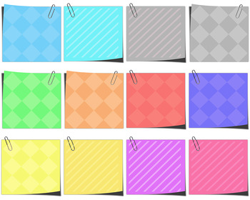 """""""Sticky Notes"""" Clip Art:  Patterned Blank notes with Paperclips"""