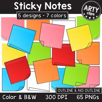 Sticky Notes Clipart (5 designs, 7 colors) MEGA BUNDLE 65 PNG {Arty Clips}