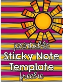 Sticky Notes Template Freebie