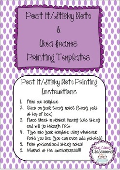 Sticky Notes/Post it Notes & Ikea Frames Printable Templates