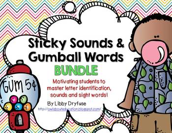 Sticky Sounds and Gumball Words BUNDLE!  Common Core Lette