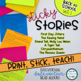 Interactive Read Aloud Lessons- Sticky Stories- Back to Sc
