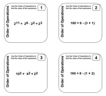 Sticky Tasks - Task Cards You Print on Sticky Notes - Order of Operations