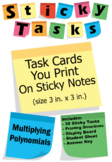 Sticky Tasks - Task Cards You Print on Sticky Notes - Multiplying Polynomials