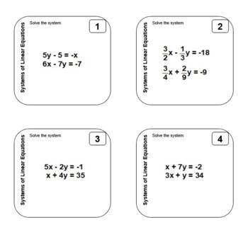 Sticky Tasks - Task Cards You Print on Sticky Notes - Systems of Equations