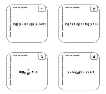 Sticky Tasks - Task Cards on Sticky Notes - Solving Equations Using Logarithms