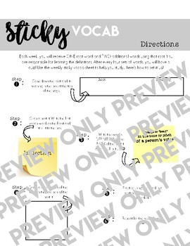 Sticky Vocab: 9 weeks of vocabulary words (plus handout!)