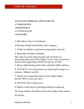 Still life checklist