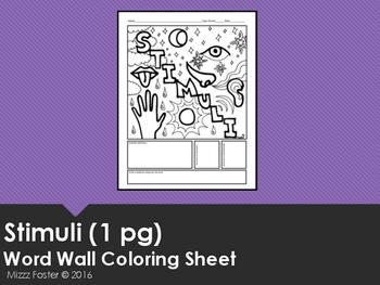 Stimuli Word Wall Coloring Sheet