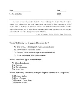 Stimulus Based Multiple Choice Questions - Reconstruction