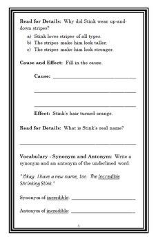 Stink The Incredible Shrinking Kid (Megan McDonald) Novel Study / Comprehension