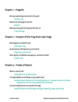 Stink and the Freaky Frog Freakout (Book 8) Chapter Questions