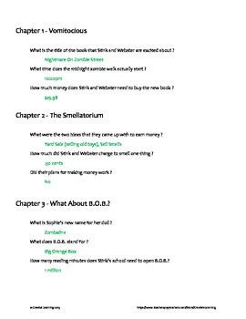 Stink and the Midnight Zombie Walk (Book 7) Chapter Questions