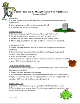 Stink and the Midnight Zombie Walk Question & Answer Sheets