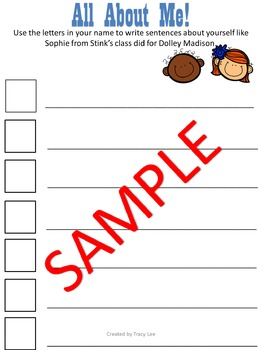 Stink the Incredible Shrinking Kid Acrostic Template