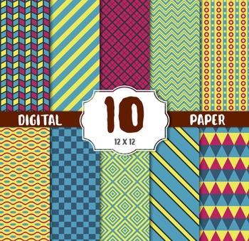 Stipes Digital Paper, Digital Paper Pack, Striped Patterns