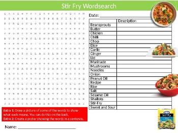 Stir Fry Wordsearch Sheet Starter Activity Keywords Food Nutrition