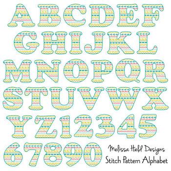 Stitch Pattern Alphabet Clipart