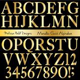 Gold Metallic Alphabet Clipart