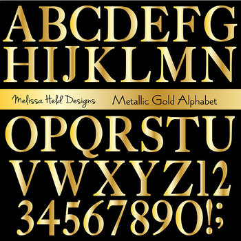 Alphabet Clipart: Metallic Gold Clip Art