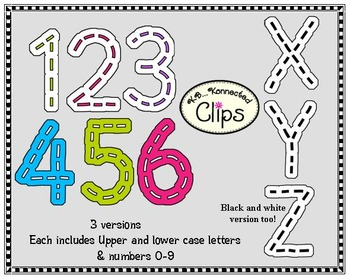Stitched Alphabet and Numbers Clip Art