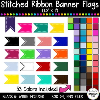 """Stitched Banner Flag Clipart  / Ribbon Journal Flag Tabs -1.5"""" X 1"""" - 53 Colors!"""