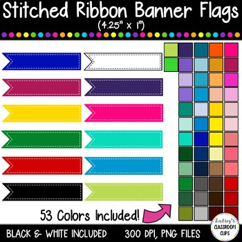 Stitched Banner Flag Clipart / Ribbon Journal Flag Tabs -4