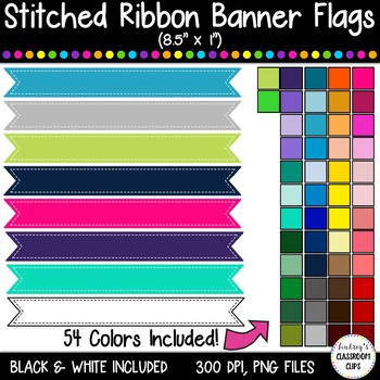 """Stitched Banner Flag Clipart / Ribbon Journal Flag Tabs - 8.5"""" X 1"""" - 54 Colors!"""