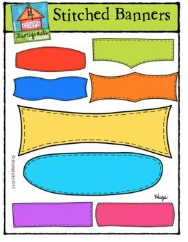 Stitched Banners {P4 Clips Trioriginals Digital Clip Art}