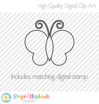 Stitched Butterfly Clip Art - Polka Dots