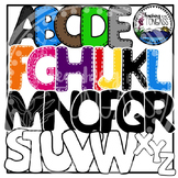 Stitched Capital Letters Alphabet Clipart