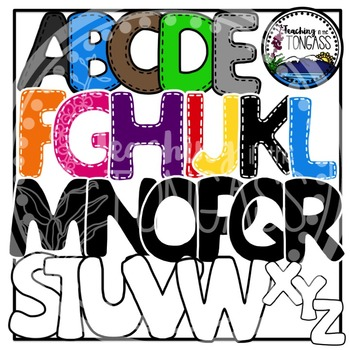 Stitched Capital Letters Alphabet Clipart